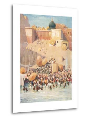 Crowds at Benares, India--Metal Print