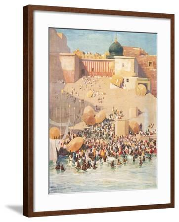 Crowds at Benares, India--Framed Art Print
