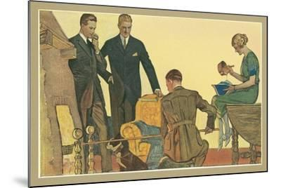 Men in Front of Fire--Mounted Art Print
