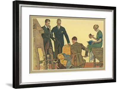 Men in Front of Fire--Framed Art Print