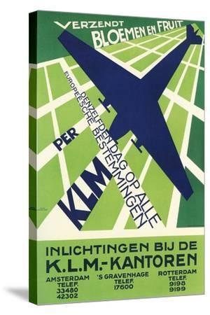 Klm Travel Poster--Stretched Canvas Print