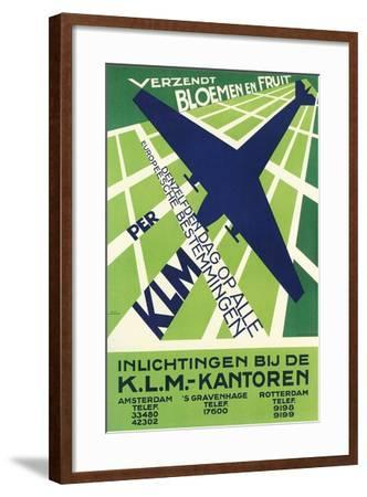 Klm Travel Poster--Framed Art Print