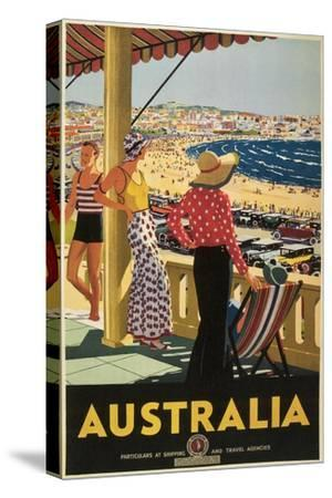 Australia Travel Poster, Beach--Stretched Canvas Print