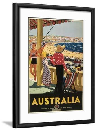 Australia Travel Poster, Beach--Framed Art Print