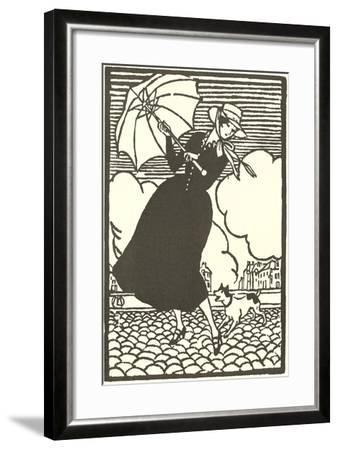 Woman with Umbrella and Dog--Framed Art Print