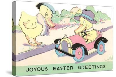 Joyous Easter Greetings, Ducks--Stretched Canvas Print
