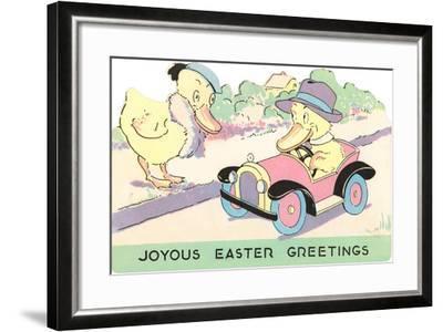 Joyous Easter Greetings, Ducks--Framed Art Print
