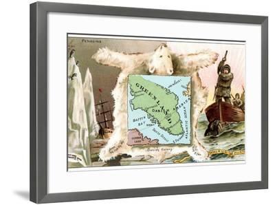 Map of Greenland, Inuit--Framed Art Print