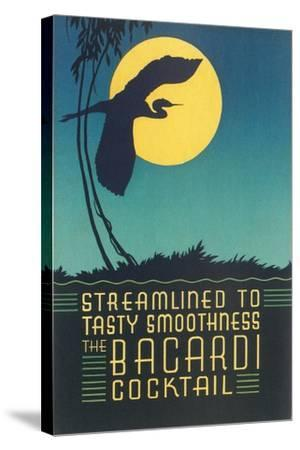 Bacardi Cocktail, Heron in Front of Moon--Stretched Canvas Print