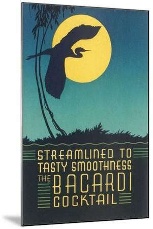 Bacardi Cocktail, Heron in Front of Moon--Mounted Art Print