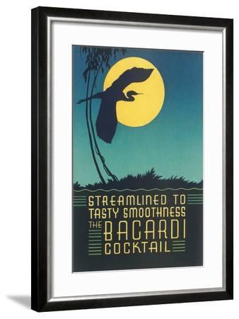 Bacardi Cocktail, Heron in Front of Moon--Framed Art Print
