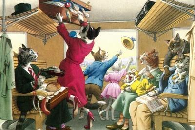 Crazy Cats on the Train--Framed Art Print