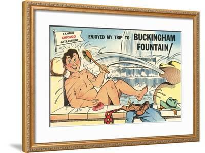 Cartoon Man Bathing in Fountain--Framed Art Print