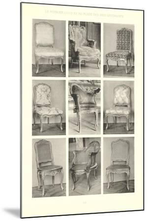 Nine Louis XV Chairs--Mounted Art Print