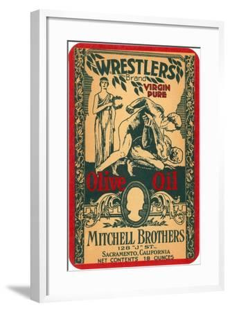 Wrestlers Olive Oil Label--Framed Art Print