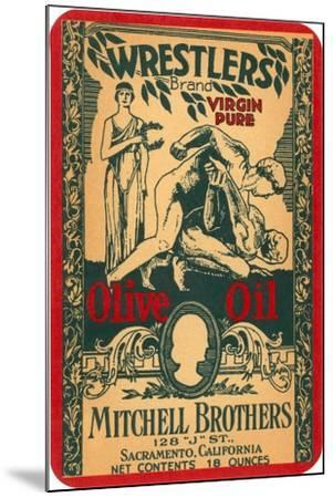 Wrestlers Olive Oil Label--Mounted Art Print