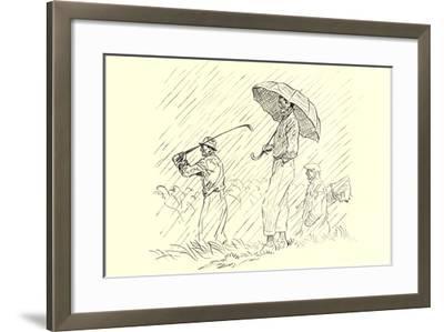 Golfing in the Rain--Framed Art Print