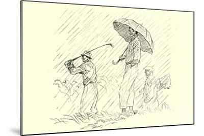 Golfing in the Rain--Mounted Art Print