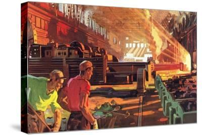 Workers in Steel Mill--Stretched Canvas Print