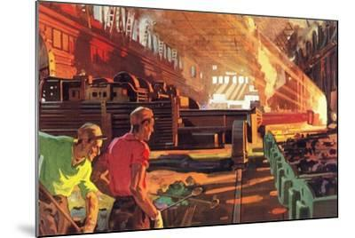 Workers in Steel Mill--Mounted Art Print