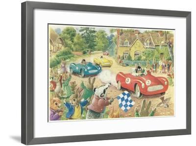 Rabbits in Race Cars--Framed Art Print
