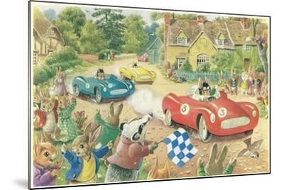 Rabbits in Race Cars--Mounted Art Print