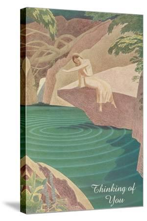 Thinking of You, Woman by Pond--Stretched Canvas Print