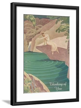 Thinking of You, Woman by Pond--Framed Art Print