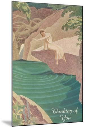 Thinking of You, Woman by Pond--Mounted Art Print