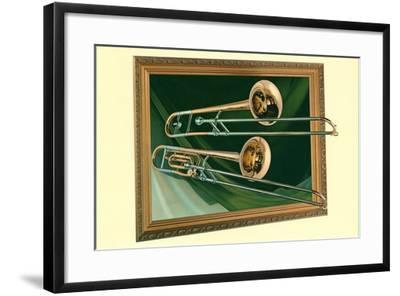 Two Trombones in Frame--Framed Art Print