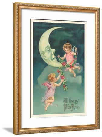 Cherubs on Crescent Moon--Framed Art Print