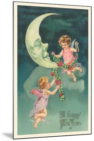 Cherubs on Crescent Moon--Mounted Art Print