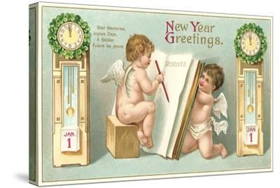 Vintage Greetings, Angels--Stretched Canvas Print