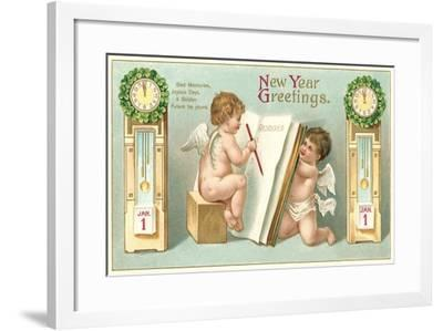 Vintage Greetings, Angels--Framed Art Print