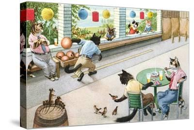 Crazy Cats at Bowling Alley--Stretched Canvas Print