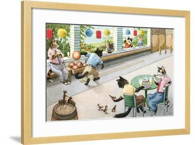 Crazy Cats at Bowling Alley--Framed Art Print