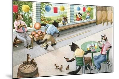Crazy Cats at Bowling Alley--Mounted Art Print