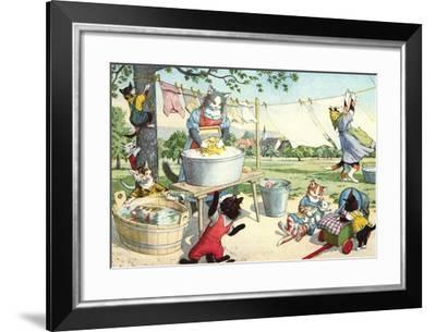 Crazy Cats Hanging Up Laundry--Framed Art Print
