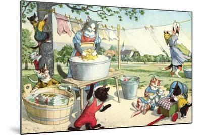 Crazy Cats Hanging Up Laundry--Mounted Art Print