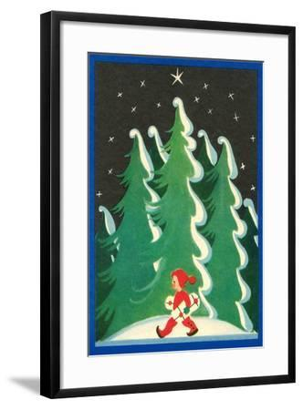 Boy with Packages--Framed Art Print