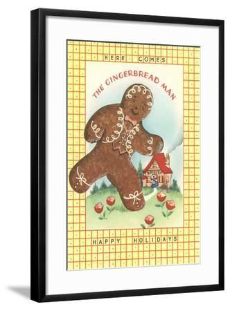 Here Comes Gingerbread Man--Framed Art Print