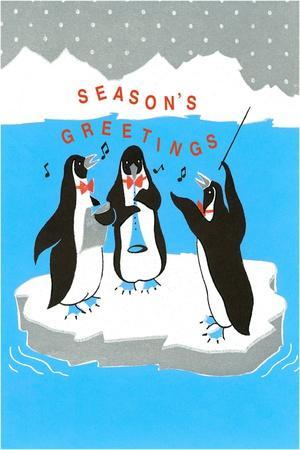 Season's Greetings, Penguin Band--Framed Art Print