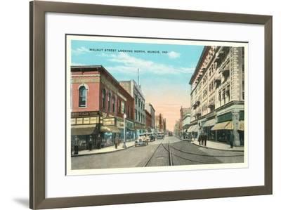Walnut Street, Muncie--Framed Art Print