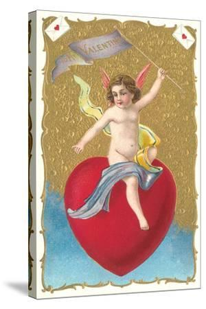 Cherub Sitting on Heart--Stretched Canvas Print