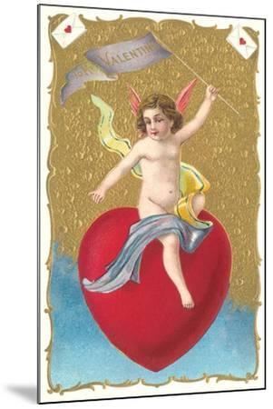 Cherub Sitting on Heart--Mounted Art Print