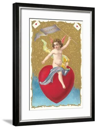 Cherub Sitting on Heart--Framed Art Print