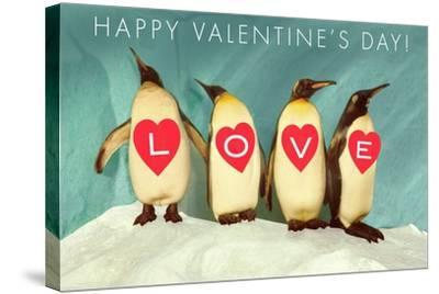 Happy Valentine's Day, Love Penguins--Stretched Canvas Print