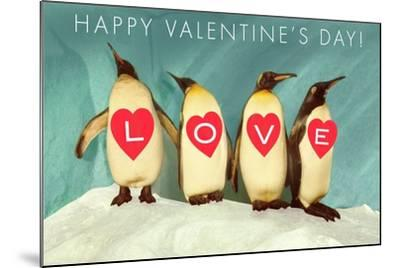 Happy Valentine's Day, Love Penguins--Mounted Art Print