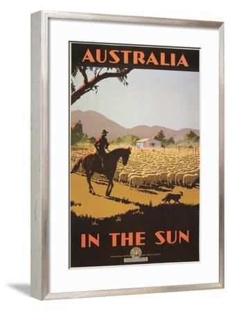 Australia Travel Poster, Sheep--Framed Art Print