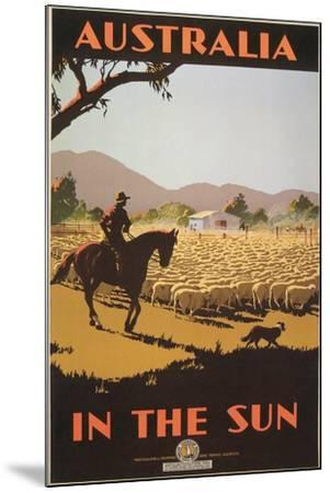 Australia Travel Poster, Sheep--Mounted Art Print